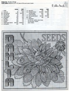 Dahlia Seed Packet Cross Stitch Pattern & Floss Chart