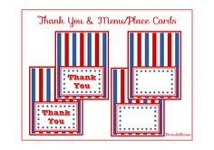 Free 4th of July Thank You and Menu/Place Cards