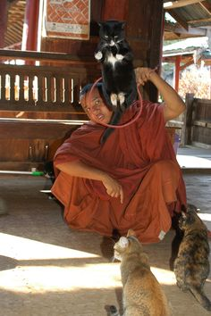 Nga Phe Chaung Monestery (Jumping Cat Monastery) on Inle Lake, Burma (Myanmar).