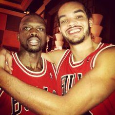 #NBAAllStar duo @luoldeng9 and @joakimnoah having fun in Houston together.