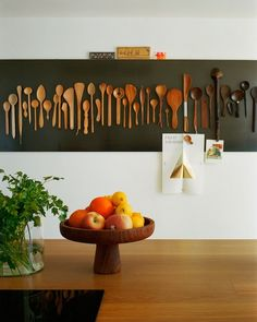 modern country An interesting display of wooden utensils against a black background – I wonder whether they are mounted to be useable? More from my siteMinimalist Wall Art Prints Kitchen Wall Art, Kitchen Decor, Wooden Kitchen, Kitchen Gallery Wall, Kitchen Walls, Kitchen Modern, Gallery Walls, Diy Kitchen, Kitchen Dining