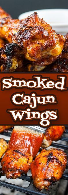 Smoked Cajun Wings - These barbecued wings have a spicy Cajun rub meeting up with some sweet Pecan wood smoke, then finished off with an aromatic hot sauce. They are deliciously smokey and spicy with a slight sticky sweet sauce that brings it all together Smoke Chicken Wings Recipe, Cooking Chicken Wings, Chicken Wing Sauces, Smoked Chicken Wings, Barbecue Chicken, Smoked Hot Wings Recipe, Grilled Hot Wings Recipe, Cajun Wings Recipe, Grilled Chicken Wings