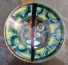 """Poole-Pottery-Studio-Shallow-Bowl-1960s-Abstract-Face-11"""""""