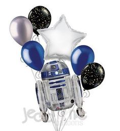 """Included in this bouquet: 7 Balloons Total 1 – 26"""" R2-D2 Shape Balloon 1 – 18"""" Silver Star Balloon 5 - 12"""" Mixed Latex Balloons (2 Gold Stars on Black, 2 Crysta"""