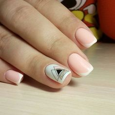 French nails with geometric print French nails with geometric print, You can collect images you discovered organize them, add your own ideas to your collections and share with other people. Nail Art Cute, Cute Acrylic Nails, Love Nails, Pretty Nails, Fun Nails, Minimalist Nails, French Nails, Nagel Gel, Nail Decorations