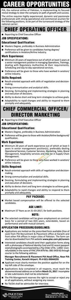 Pakistan International Airlines Company PIAC 2017 Jobs Apply - chief executive officer job description