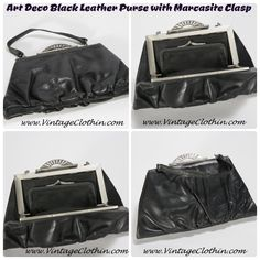This Vintage Art Deco Black Leather Purse with Marcasite Clasp is from our personal collection.   www.vintageclothin.com     #leather #purse #black #artdeco #Deco #marcasite #vintagepurse #vintage  #vintageclothin #vintagewear  #dressvintage #vintageclothin.com #vintageshopping #retro #retropurse #retrohandbag #vintagefashion #forsale #buyme #vintageseller #vintageshop #vintagestore