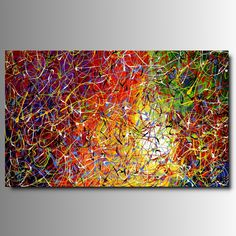 "ART MMB ""CARNAVAL"" - 1 QUADRO ARTE MODERNA ASTRATTO MULTICOLOR DIPINTO A MANO GIA' INTELAIATO: Amazon.it: Casa e cucina"