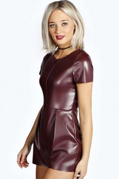 Karoline PU Raw Edge Playsuit - Playsuits - Playsuits & Jumpsuits - Clothing