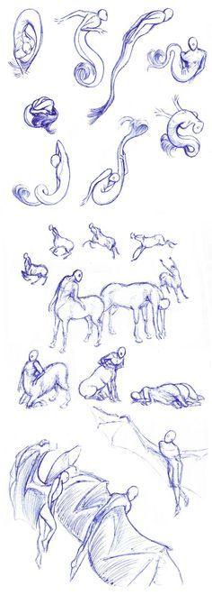 Sirens, centaurs, winged - poses by Batri.deviantart.com on @DeviantArt