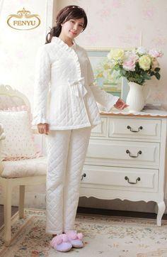 Free Shipping 100% Cotton Princess Women's Winter Sleepwear Pajamas Set Home Coth camisolas de dormir