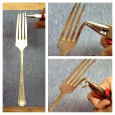 Fork Crafts, Metal Crafts, Diy And Crafts, Metal Projects, Recycled Crafts, Key Projects, Fork Art, Spoon Art, Jewelry Crafts