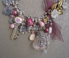 Key to a Perfumed Garden: Romantic Jeweled Statement Necklace VINTAGE ASSEMBLAGE One of a Kind ooak. $315.00, via Etsy.