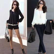 2014 New Fashion Women Blouse Sexy Chiffon Blouses Puff Long Sleeve Lace Shirts Loose O-neck Casual Tops Plus Size(China (Mainland))