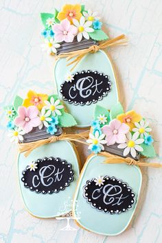 Mason Jar Decorated Cookies With Fondant Flowers ~ Sweets to Impress