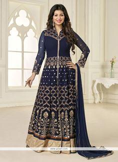 Ayesha Takia Net Embroidered Work Navy Blue Designer Floor Length Suit Model…
