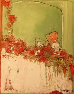 "Inge Philippin -  ""Red Flowers"" - acrylic on canvas"