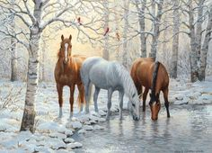HUACAN DIY Diamond Painting Animals Picture of Rhinestones Christmas Decoration Diamond Embroidery Horse Pattern Painted Horses, Painted Birds, Hand Painted, Horse Pictures, Animal Pictures, Canvas Pictures, Beautiful Winter Scenes, Winter Horse, Horse Pattern