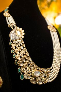 Flowing peacock Necklace with uncut diamonds, pearls and emeralds.  Photo credit: Sheena Sippy