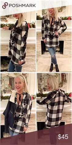 Free People Buffalo check embroidered tunic! So amazing tie front keyhole front embroidered on front and sides for a dramatic look - quite stunning! Free People Tops Tunics