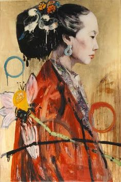 This painting was painted by Hung Liu. She is Chinese and lives in the US. It looks like it was painted on parchment paper. Delicate and feminine sitter, side view, looks shy Changchun, Art Et Illustration, Illustrations, Figure Painting, Painting & Drawing, Woodblock Print, Hung Liu, Art Chinois, Art Asiatique