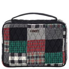 """Ivy Book Cover from the Bella Taylor Ivy Collection comes in a sophisticated patchwork of tartan red, ivy green & crisp black with a jet black micro suede trim.  This Book Cover measures 10"""" x 2.25"""" x 7"""", and features 1 outside slip pocket, 1 carrying handle, a full zipper closure, 1 inside slip pocket, 2 pen loops and 1 fabric book mark. It will fit a book up to 10"""" x 7""""."""