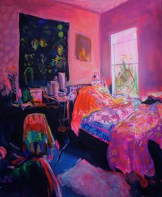 """Ekaterina Popova – """"Awakening"""", Expressive and textured large oil painting, bold colors, Bedroom Ekaterina Popova Interior Painting – Awakening Nostalgic European Style Canvas Colors 2017 Contemporary Painting Inspiration, Art Inspo, Design Inspiration, Illustration Art, Illustrations, Oil Painting Texture, Art Plastique, Pretty Art, Bold Colors"""
