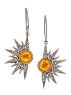 Colette - 18k Round Opal Sunburst Earrings - at - London Jewelers