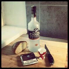 vodka, bread & dunhill -- my breakfest