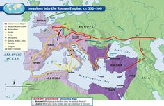 Invasions into the Roman Empire, AD European History, World History, Ancient History, Ancient Egypt, Roman Empire Map, Paul's Missionary Journeys, Roman Britain, Map Activities, Map Projects