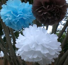 IT'S A BOY Baby Shower Decorations 8 Hanging Tissue by TeroDesigns,