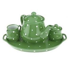temptations green polka dot tea set