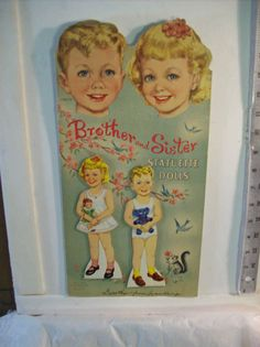 """Vintage 1950 """"Brother and Sister Statuette Dolls"""" Whitman"""