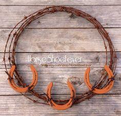 Fall Carmel Horseshoe Barbwire Wreath.  Western by HorseShoeFever, $69.99