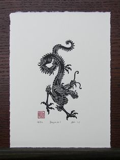 I handmade this linocut print of a Chinese dragon as a commission, but liked the. - I handmade this linocut print of a Chinese dragon as a commission, but liked the… – – - Dragon Tattoo For Women, Dragon Tattoo Designs, Dragon Oriental, Arrow Tattoo, Chinese Dragon Tattoos, Year Of The Dragon, Art Graphique, Dragon Art, Future Tattoos