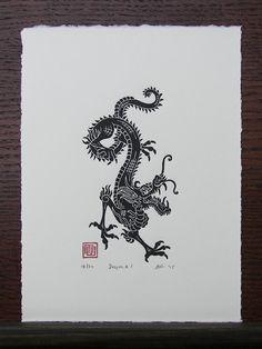 Year of the Dragon Linocut Print // Handmade // by InkshedPress