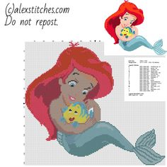 Disney Baby Princess Ariel free cross stitch pattern download in Disney category