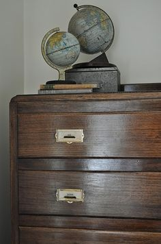 (via The Painted Hive: Enhanced Natural Timber Furniture) Vintage Library, Vintage Books, Globe Art, Vintage Drawers, Room Of One's Own, Antique Chest, Timber Furniture, Pop Culture Art, Cabinet Makeover