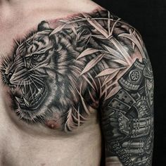 Tiger and bamboo chest piece. With artist: @wt_tattoo Created: @chronicink