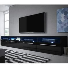 Siena Double TV Stand for TVs up to Selsey Living Finish: Matte Black/Gloss Black Siena, Television Console, Television Stands, Plasma Tv Stands, Buy Tv Stand, Tv Stand Decor, Swivel Tv Stand, Tv Furniture, Living Room Tv