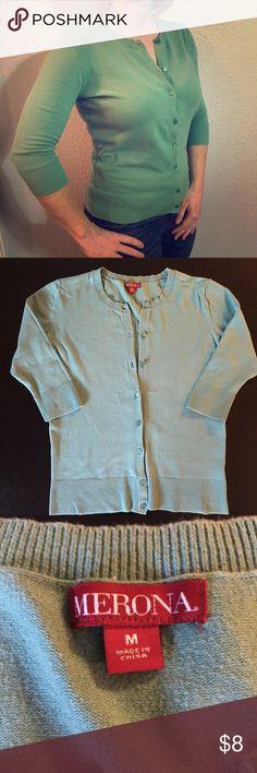 Green Merona Sweater Light green Merona 3/4 length sleeved cardigan. Slightly pulling. 92% cotton, 6% nylon, 2% spandex. Merona Sweaters Cardigans