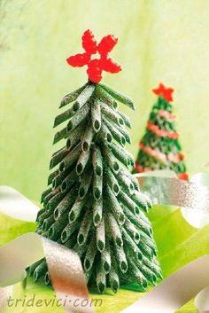 Ёлка из макарон - Новогодние поделки