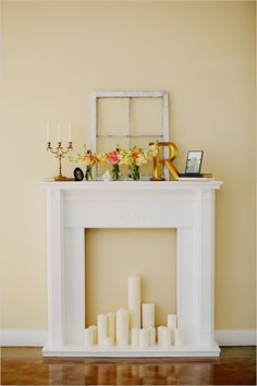 {DIY fireplace + mantel}. Could be like a Christmas decoration to take out each year. @connorjaye