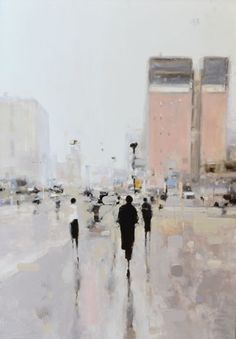 Geoffrey Johnson's human figures fade into almost transparent urban scapes. His paintings successfully capture the alluring space between abstraction and realism. Pictures are from here, here, here and here! Urban Painting, City Painting, Impressionist Art, Paintings I Love, Anime Comics, Art Inspo, Contemporary Art, Art Photography, Street Art