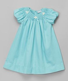 Another great find on #zulily! Aqua Flower Smocked Bishop Dress - Infant & Toddler #zulilyfinds