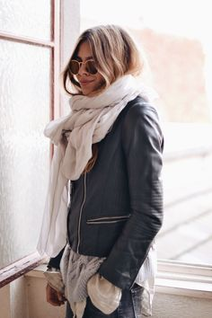 Big scarf + leather.