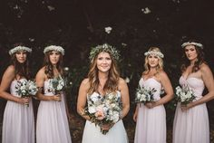 Boho Chic Bride and Bridesmaids with Flower Crowns.  #Boho #BohoWedding #BohoBride #BohoBridesmaid #FlowerCrown