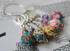 Crochet stitch markers in polymer clay by CraftyCatKnittyBits on Etsy