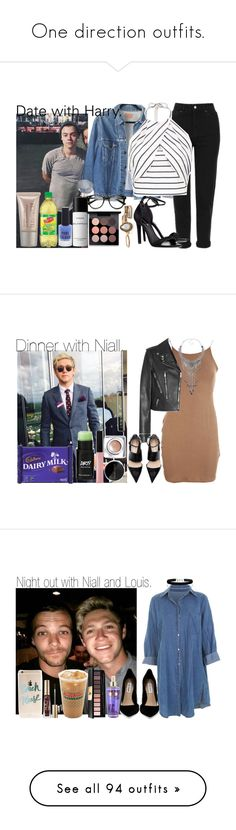 """""""One direction outfits."""" by carla-limitededition ❤ liked on Polyvore featuring OneDirection, onedirectionoutfits, Levi's, Laura Mercier, Topshop, H&M, New Look, MAC Cosmetics, Yves Saint Laurent and Eye Candy"""