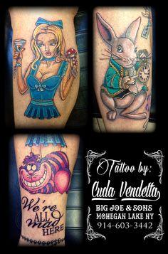 TATTOOS BY CUDA VENDETTA  Karen Kay's Alice in Wonderland themed leg sleeve in progress. - BIG JOE & SON'S TATTOO - MOHEGAN LAKE NY 914-603-3442 Joe Son, Tattoo For Son, Color Tattoos, Leg Sleeves, Alice In Wonderland, Big, Color Tattoo